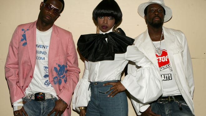 Musicians Pras Michel (from left), Lauryn Hill and Wyclef Jean of the Fugees pose backstage at the BET Awards 05 at the Kodak Theatre on June 28, 2005, in Hollywood.