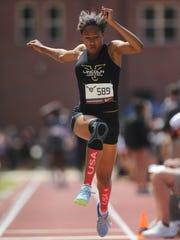 Lincoln's Yasmin Grace triple jumps at the 2018 FSU
