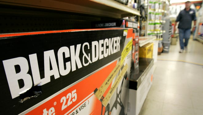 A Black & Decker Workmate bench is displayed at a store in Little Rock, Ark.