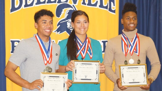 Belleville athletes of the year (from left) Sam Abreu, Gianna Benacquista and Alcides Dos Reis.