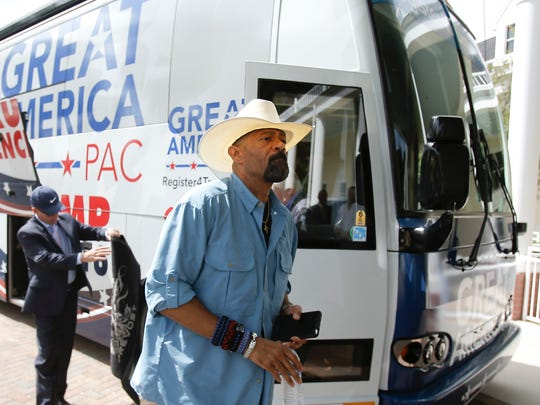 Sheriff  David A. Clarke Jr. arrives on the Great America PAC bus for a town hall meeting in Lake Mary, Fla.on Sept. 12 The Great America PAC supports Donald Trump.