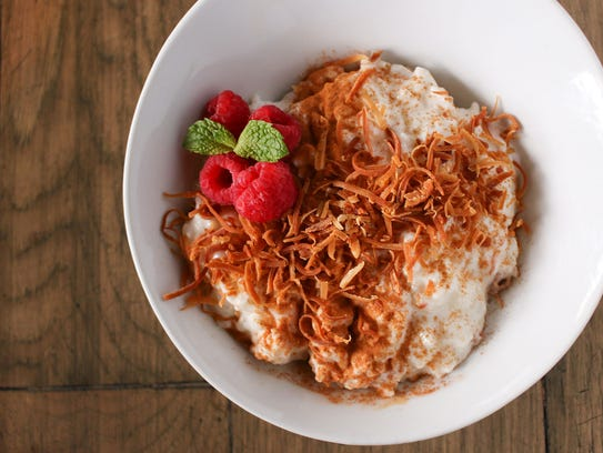 Rice pudding with toasted coconut and cinnamon at Char