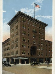 The seven-story New Sherwood Hotel stood on the corner