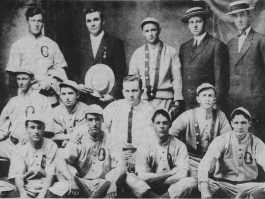 The Dietlein's Clerks baseball team, sponsored by the Jacobs- Dietlein Wholesale Grocery, taken about 1895.