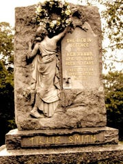 """Maryann McFadden's newest novel, """"The Cemetery Keeper's Wife,""""is based on the April 1886 New Jersey murder of Tillie (Matilda) Smith. This memorial monument was erected after her death in Hackettstown."""