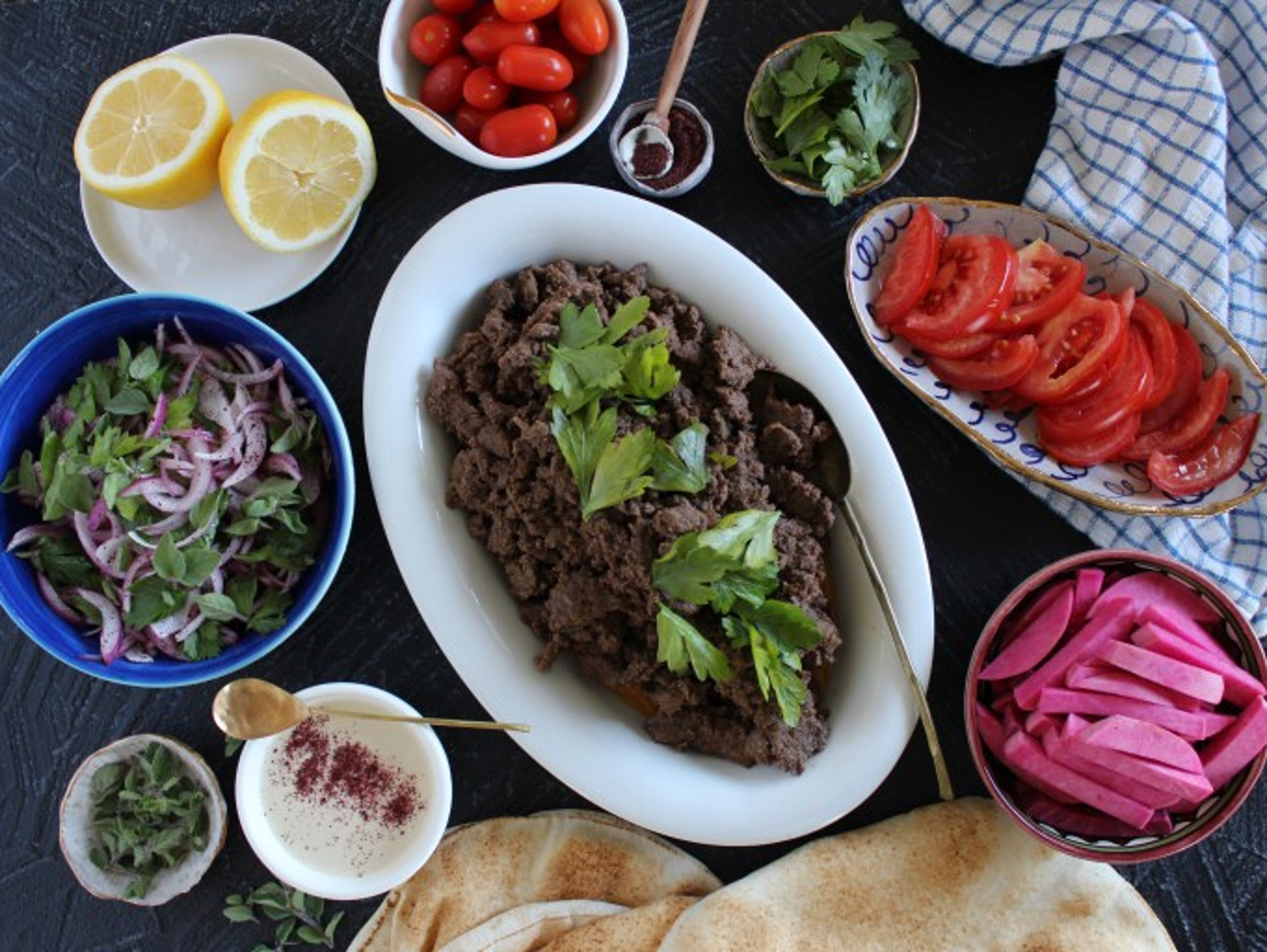 Beef shawarma with tahini.