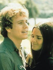 Ali MacGraw, right, and Ryan O'Neal during a scene