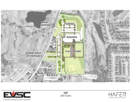 McCutchanville Elementary School site plan.