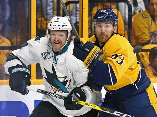 Sharks defenseman Paul Martin skates against Predators