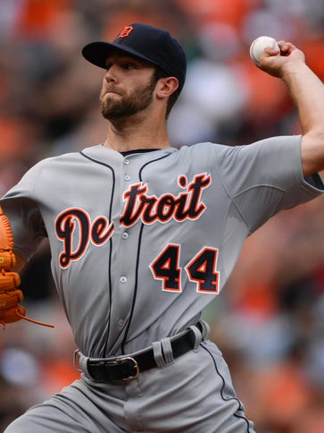Tigers starting pitcher Daniel Norris pitches during