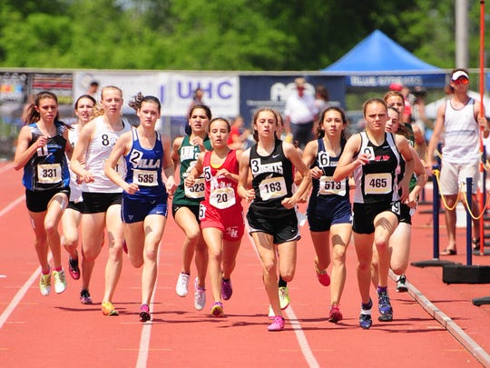 McConnellsburg's Mckenzie Gelvin (far left) placed 3rd in the AA girls 800, passing six runners in the final 300 meters to claim the bronze medal.