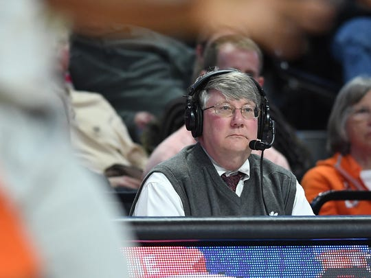Clemson assistant athletic director Tim Bourret during the 2nd half at Lawrence Joel Veterans Memorial Coliseum in Winston Salem, N.C. on Saturday, February 3, 2018.