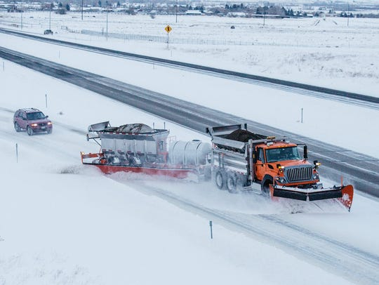 A tow plow in Helena on Feb. 9. The Montana Department