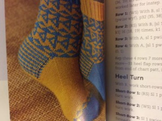 Several designs in this book, including these Bertha Socks, are pairs of mirror images of each other.