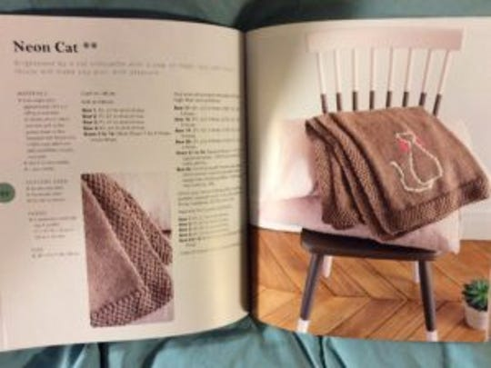 The Neon Cat throw has directions for knitting the
