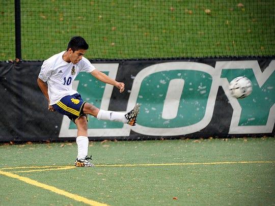 Pocomoke's Gustavo Enriquez fires a corner kick during the MPSSAA 1A state soccer final on Saturday, Nov. 19, 2016 at Loyola University in Baltimore.