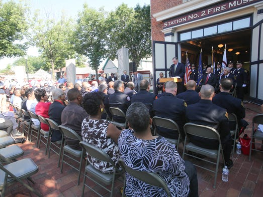 Thursday July 17th, 2014, Indianapolis Mayor Greg Ballard announces Earnest Malone, as the new Fire Chief for IFD, during a ceremony at the Indianapolis Firefighters Local 416 union hall.