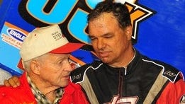 Lance Dewease of Fayetteville, right, shares a moment with Walt Dyer, the former owner of Dewease's Sprint car. Dewease won at Williams Grove on Friday.