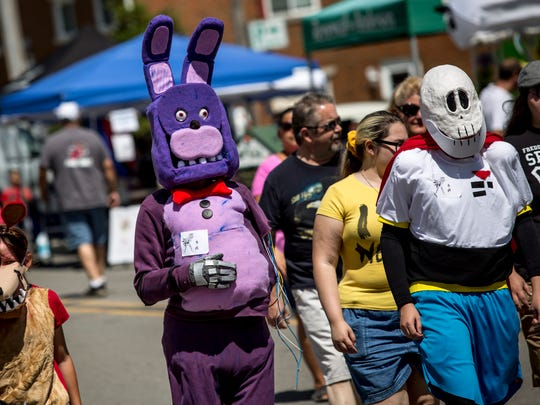 Colin Sterling, of Ira Township, dressed as Bonnie the Bunny during the 2016 Marine City International Comic Con.