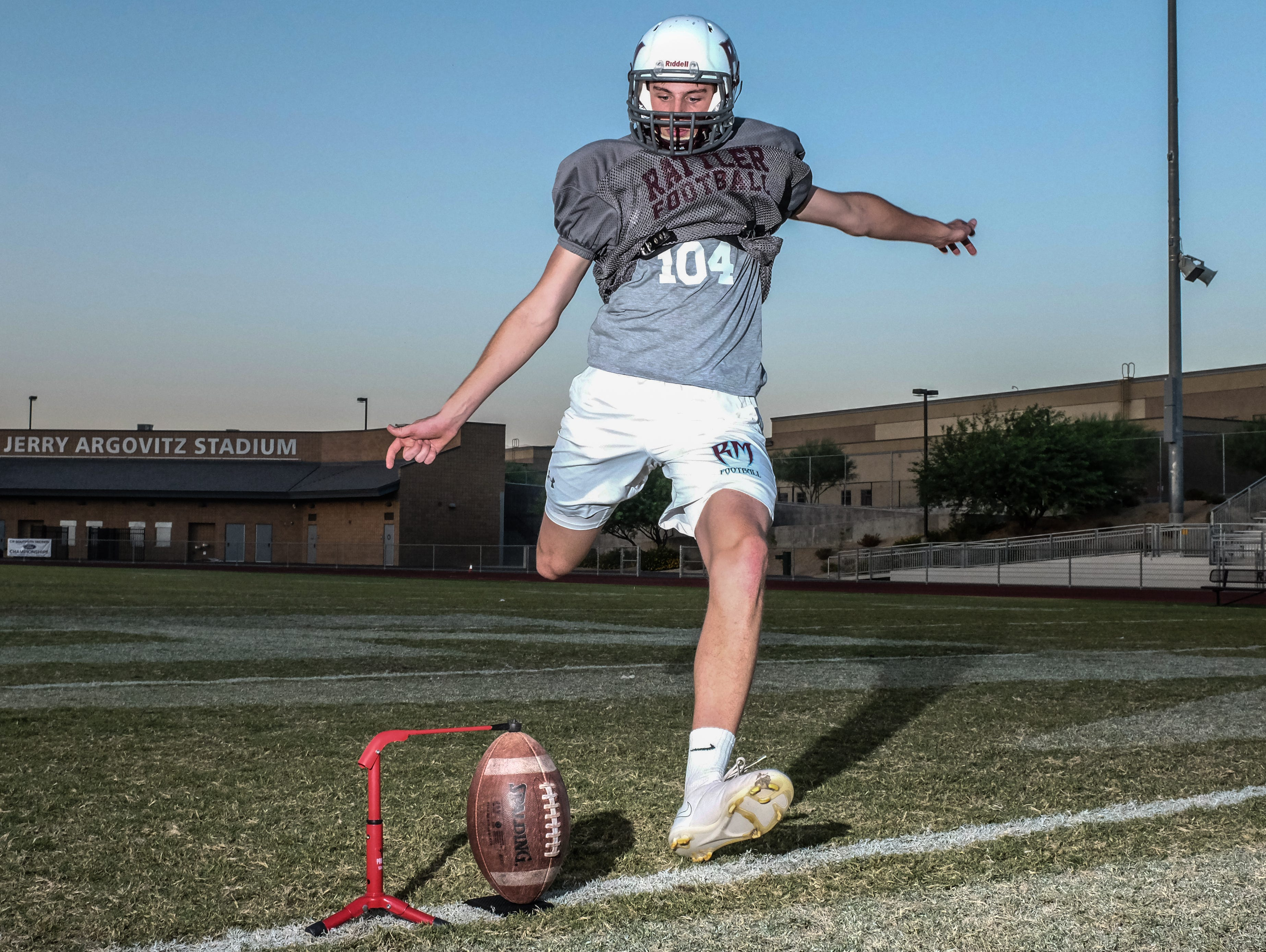 Rancho Mirage kicker Daniel Whelan kicks a field goal after practice on Wednesday, September 7, 2016 at Rancho Mirage High School. Whelan missed a 65-yard field goal by a few feet last Friday almost beating the NFL record of 64-yard.