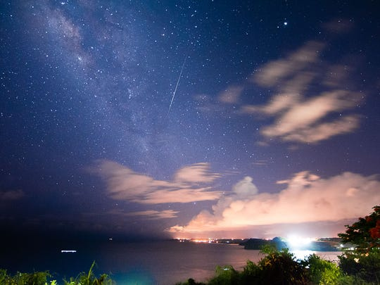 A shooting star captured while photographing the Milky