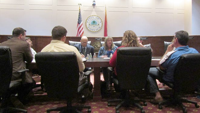 Members of the Fairview Planning Commission meet in a joint workshop with City Commissioners March 9, 2017.