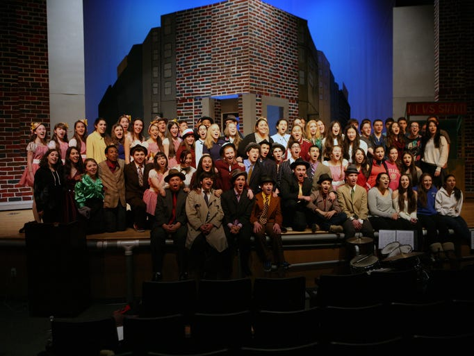 "The cast and crew of ""Guys and Dolls"" pose for a photo for this years production at Blind Brook High School in Rye Brook, March 20, 2014."