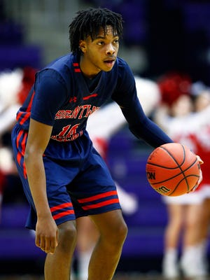 Brentwood Academy's Darius Garland looks to pass during their game of the TSSAA Division II-AA basketball state championship against Baylor at Lipscomb University  Saturday, March 3, 2018 in Nashville, Tenn. (Photo by Wade Payne, Special to the Tennessean)