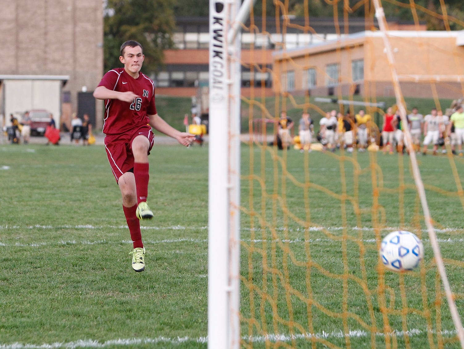 Nyack's Zach Stone (26) watches a penalty kick during a boys soccer game against Nanuet at Nanuet High School on Wednesday, Oct. 21, 2015.