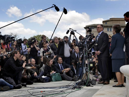 Following the hearing of his case on April 28, 2015, Jim Obergefell speaks to a huge crowd of worldwide media in front of the United States Supreme Court.