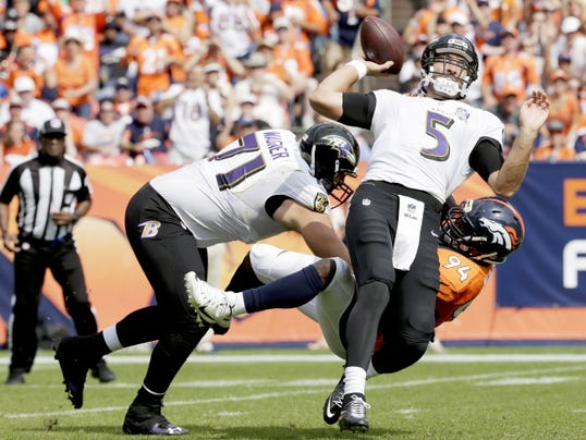 Baltimore Ravens quarterback Joe Flacco gets sacked by Denver Broncos linebacker DeMarcus Ware, right, as tackle Ricky Wagner, left, fails to make the block during the first half of Their game Sunday in Denver.