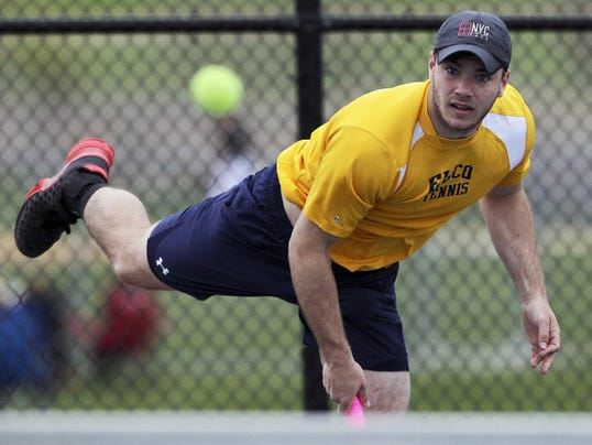In this April 27 file photo, Elco's Adam Bahney serves a shot to Lancaster Mennonite's Will Wanner during the LL Boys Tennis Finals at Conestoga Valley High School.