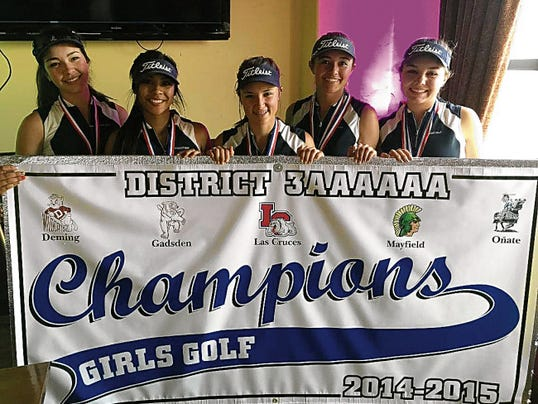 Courtesy Photo   The Deming High Lady Wildcats Golf Team captured its 12th consecutive district team championship - this time in the Class 6A District 3-6A. From left, are: Linda Cisneros, Alexia Morales, Josey Jackson, Shelby Turner and Darian Zachek.