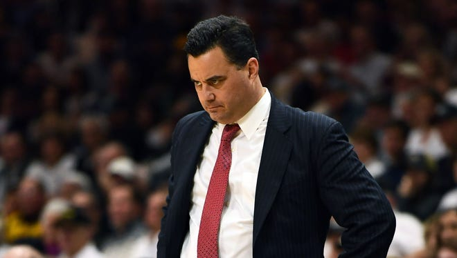 Arizona Wildcats head coach Sean Miller looks on during the second half of a game against the Colorado Buffaloes.