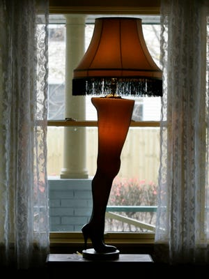 A leg lamp stands in the living room of the house used in the filming of the classic holiday movie 'A Christmas Story'  in Cleveland.