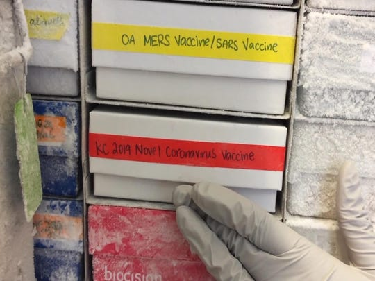 In this undated frame from video provided by the National Institute of Allergy and Infectious Diseases (NIAID), a scientist returns a novel coronavirus vaccine sample to a freezer in Bethesda, Md. The flu-like virus that exploded from China has researchers worldwide once again scrambling to find a vaccine against a surprise health threat, with no guarantee one will arrive in time. (NIAID via AP)