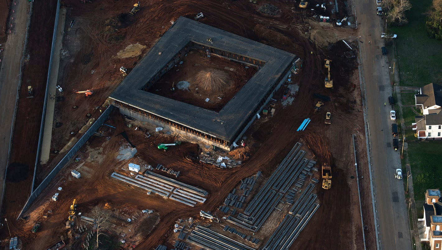 A look from above at the construction of the Montgomery lynching memorial