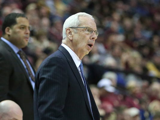North Carolina's head coach Roy Williams reacts to the play in the second half of an NCAA college basketball game against Florida State, Wednesday, Jan. 3, 2018, in Tallahassee, Fla. Florida State won 81-80. (AP Photo/Steve Cannon)