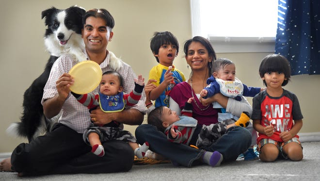 Prem Saggar and Asmita Saggar have 4-year-old twins and had identical triplets on May 27th. All five of their children, all boys, have the same birthday. During the pregnancy they discovered the babies had a rare blood disorder called TAPS. She had a risky procedure to try to save the babies with unbalanced blood.