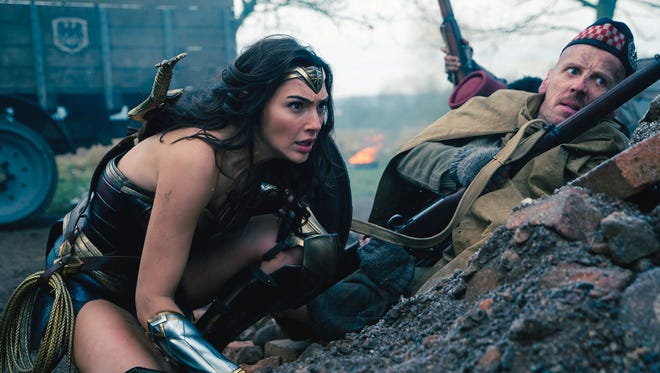 """Diana Prince (Gal Gadot) takes to the World War I front in """"Wonder Woman."""""""