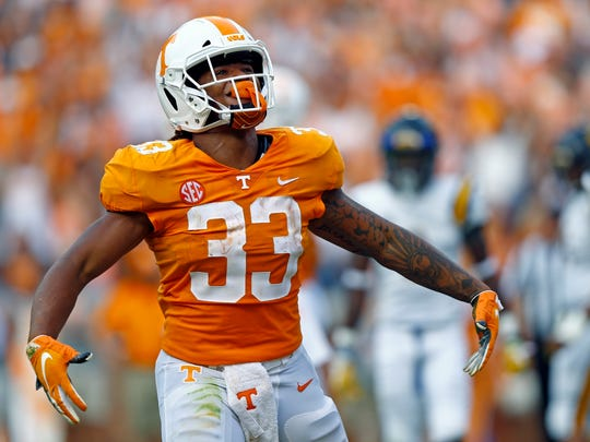 Tennessee running back Jeremy Banks (33) reacts after scoring a touchdown in the first half of an NCAA college football game against East Tennessee State University Saturday, Sept. 8, 2018, in Knoxville, Tenn. (AP Photo/Wade Payne)