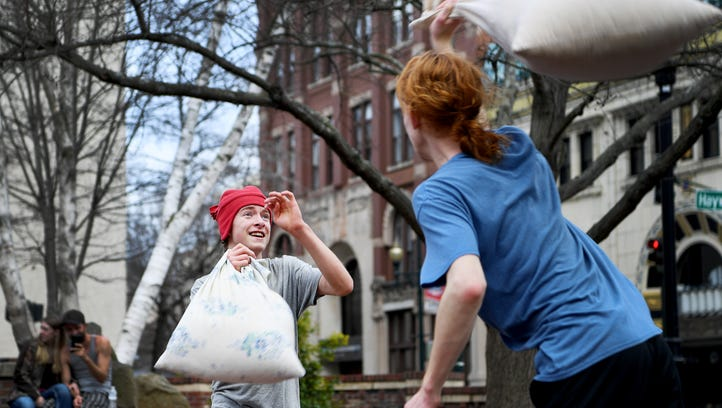 Pillow fight at Pritchard Park
