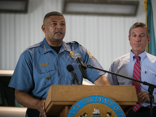 DOC Commissioner Perry Phelps at a Tuesday press conference at James T. Vaughn Correctional Center.