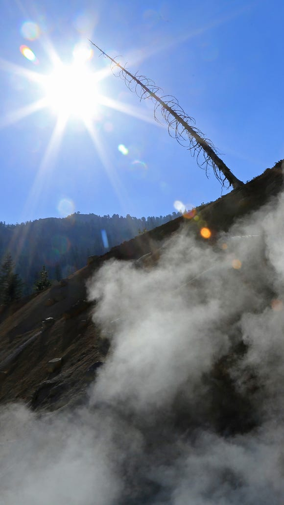 Steam rises from the Sulphur Works at Lassen Volcanic National Park in northern California.