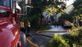 Firefighters respond to a house fire caused by lightning