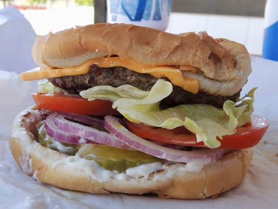 The signature Giant Burger at Bartels in Redding, Anderson