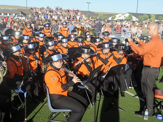 The Fernley High School band performs at graduation.