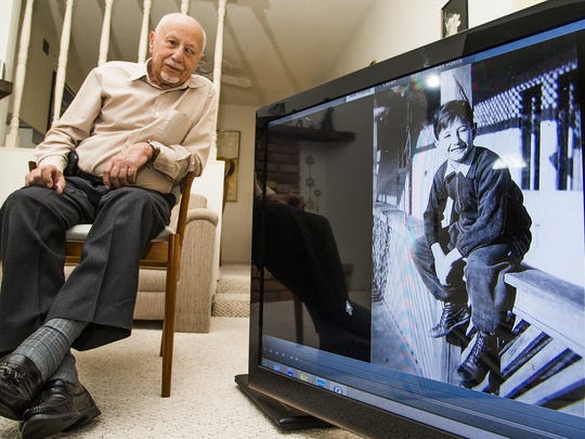 George Kalman, 80, and a photo of him in 1943 when