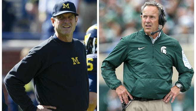 Michigan coach Jim Harbaugh and MSU's Mark Dantonio will face each other for the first time Saturday, after nearly 10 months of build-up, mostly centered around Harbaugh.