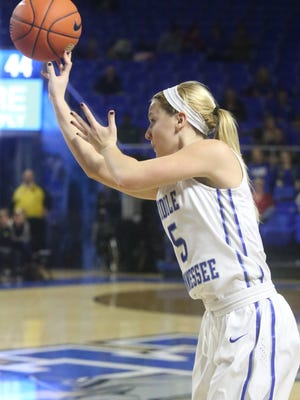 MTSU's Abbey Sissom (5) led the Lady Raiders to their first win of the season Saturday night.